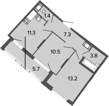 2-комнатная 53 м<sup>2</sup> на 4 этаже