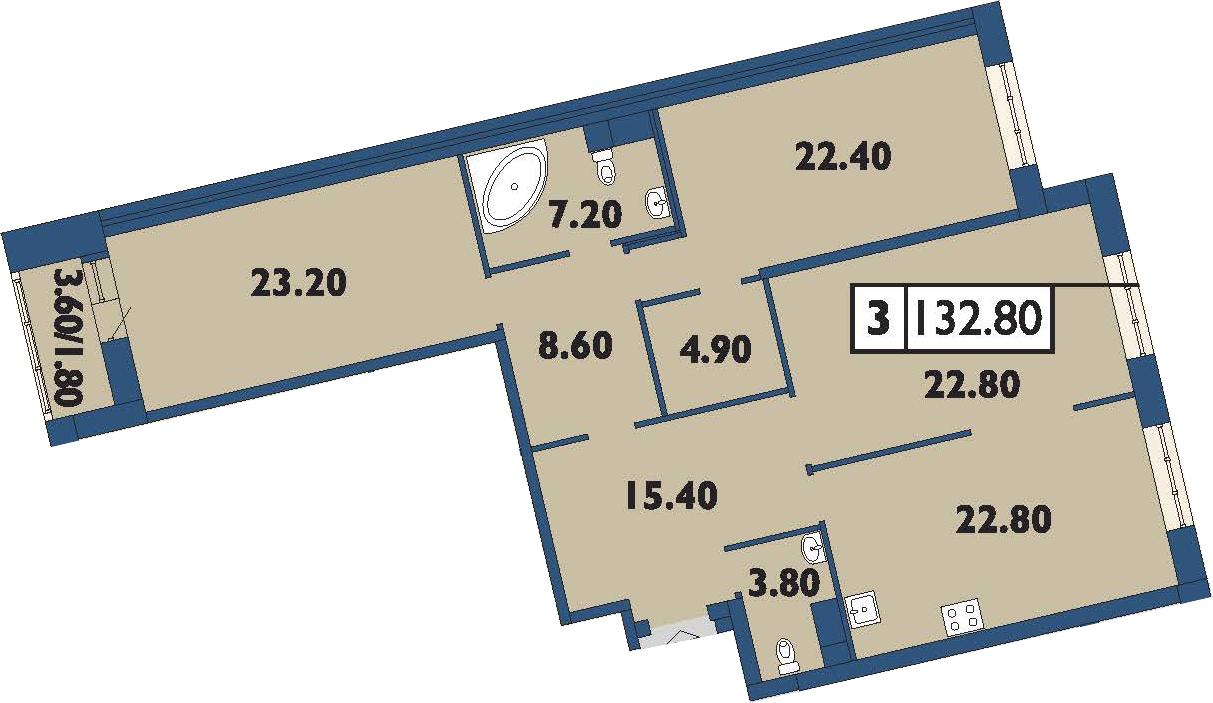 4-комнатная 134 м<sup>2</sup> на 12 этаже