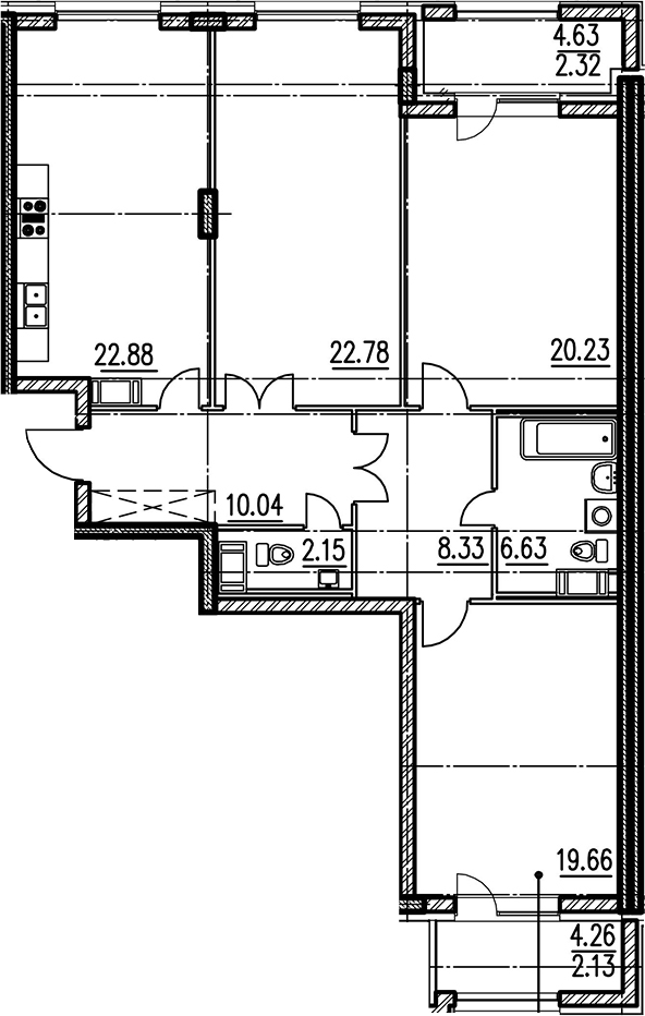 3-комнатная 121 м<sup>2</sup> на 10 этаже