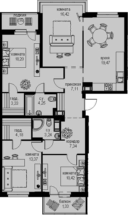 4-к.кв, 115.6 м²