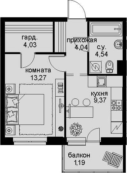 1-к.кв, 39.22 м²