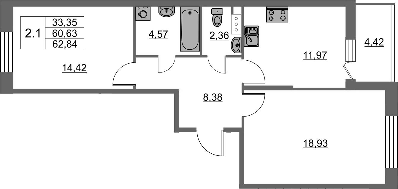 2-комнатная 65 м<sup>2</sup> на 9 этаже