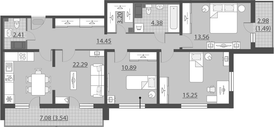 4-к.кв (евро), 96.49 м²