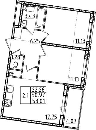 3-комнатная 55 м<sup>2</sup> на 1 этаже