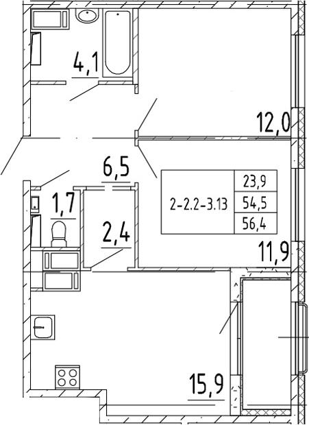 3-комнатная 58 м<sup>2</sup> на 5 этаже