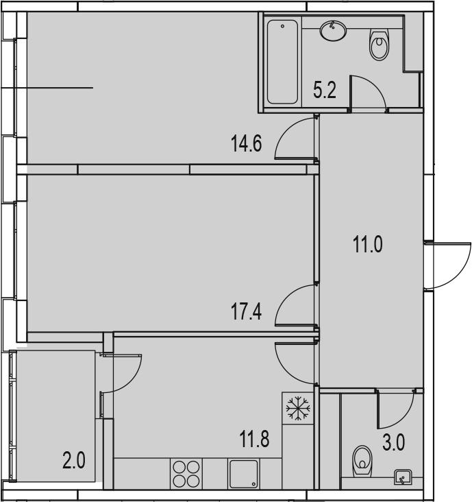 2-комнатная 67 м<sup>2</sup> на 13 этаже