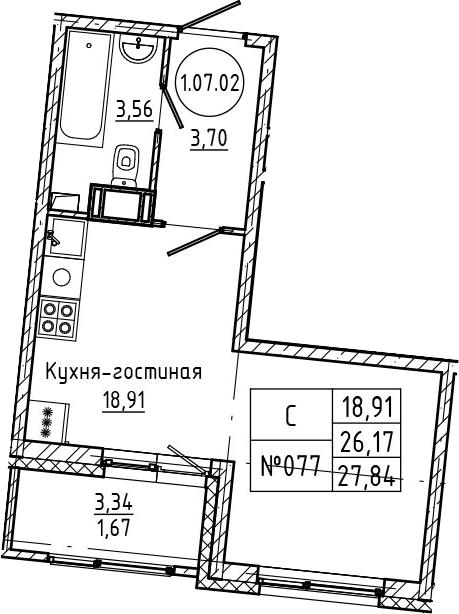 Студия 29 м<sup>2</sup> на 7 этаже