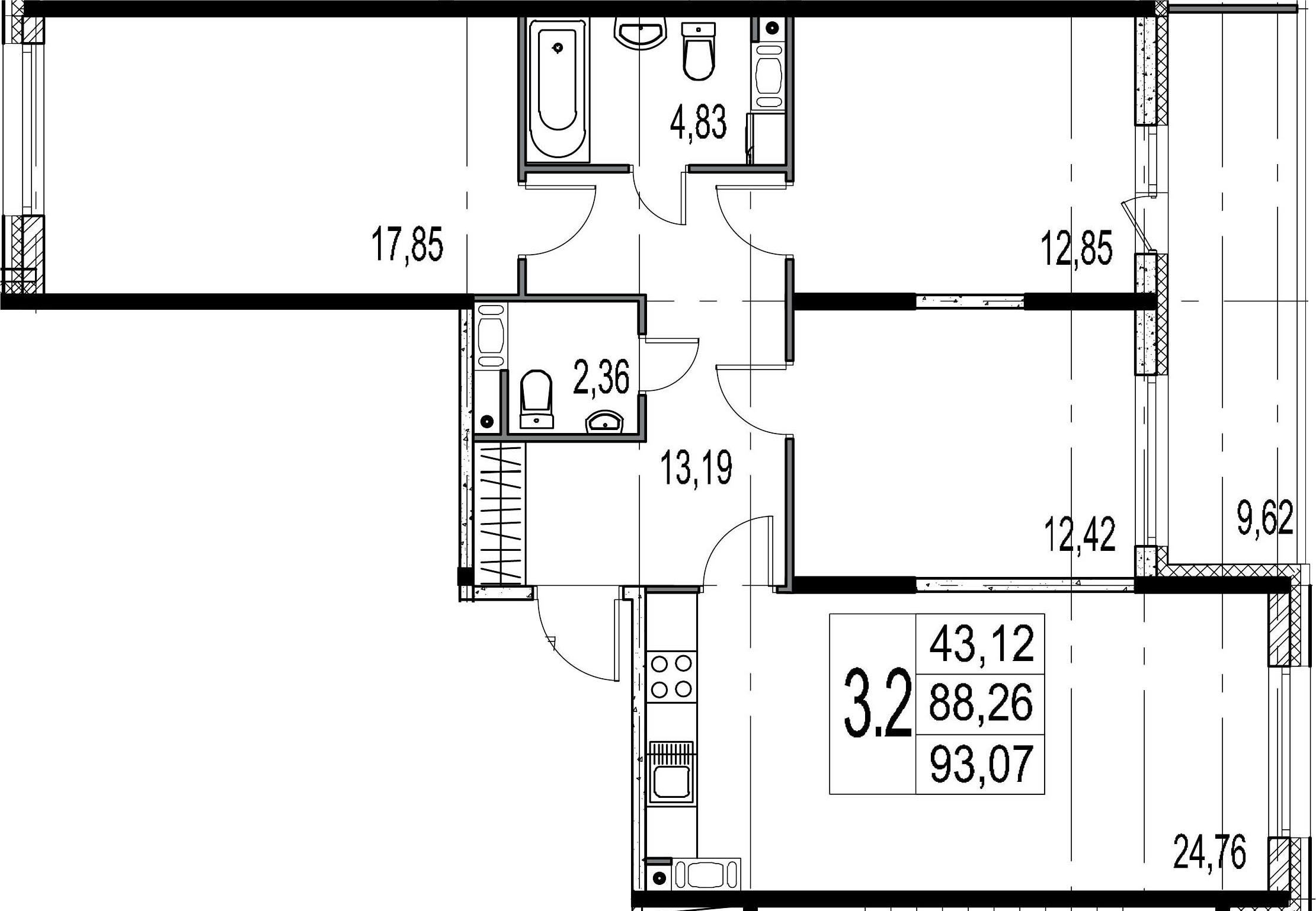 4-комнатная 97 м<sup>2</sup> на 8 этаже