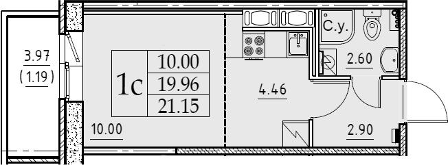 Студия 23 м<sup>2</sup> на 10 этаже