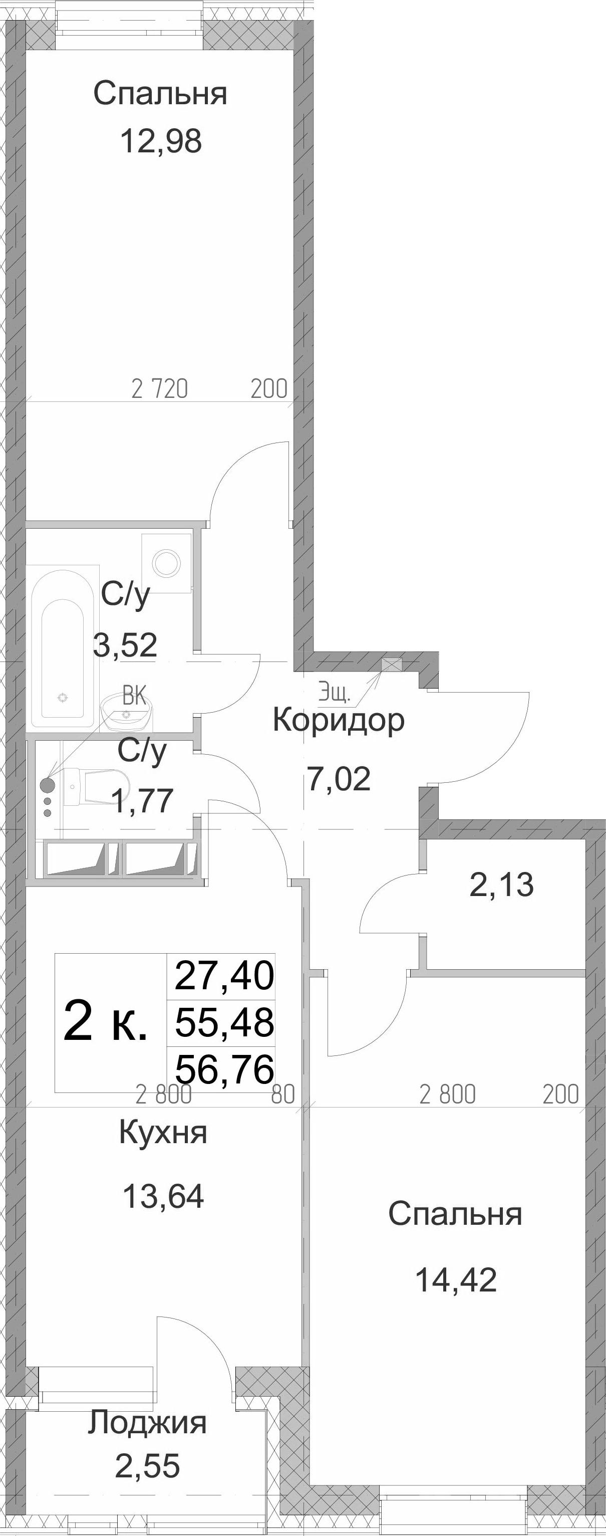 2-комнатная 58 м<sup>2</sup> на 13 этаже