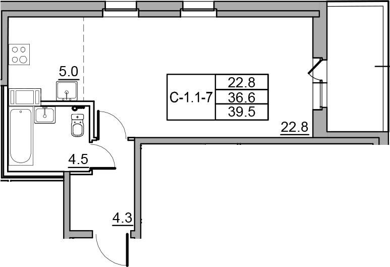 Студия 42 м<sup>2</sup> на 4 этаже