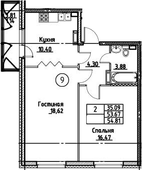 2-комнатная 57 м<sup>2</sup> на 3 этаже
