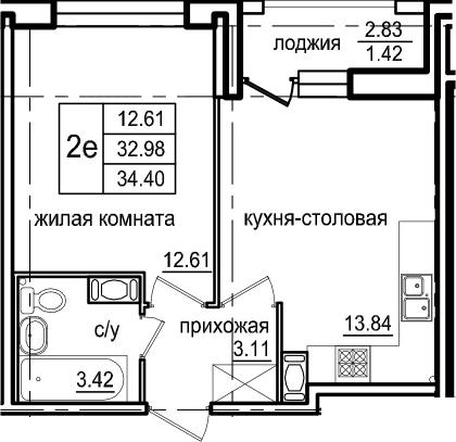 2-комнатная 35 м<sup>2</sup> на 6 этаже