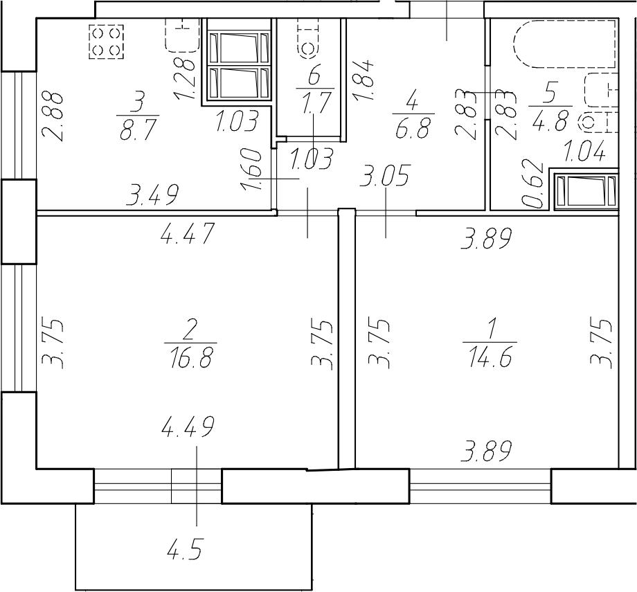 2-комнатная 57 м<sup>2</sup> на 13 этаже