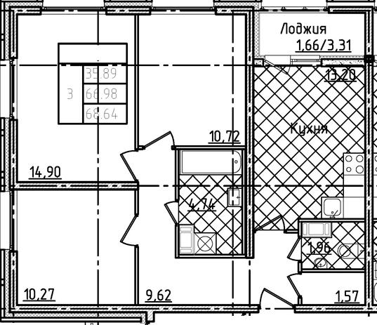 3-комнатная 70 м<sup>2</sup> на 5 этаже