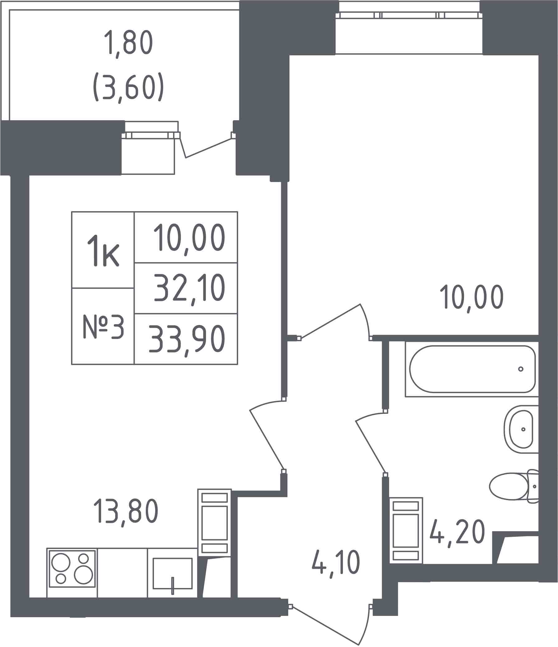 1-к.кв, 35.7 м²