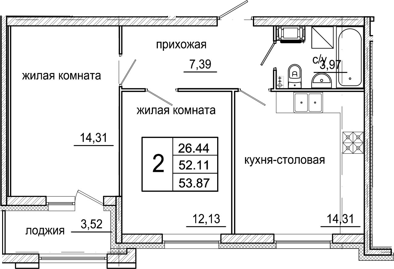 3-комнатная 55 м<sup>2</sup> на 4 этаже