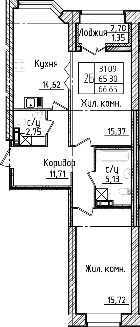 2-комнатная 68 м<sup>2</sup> на 3 этаже