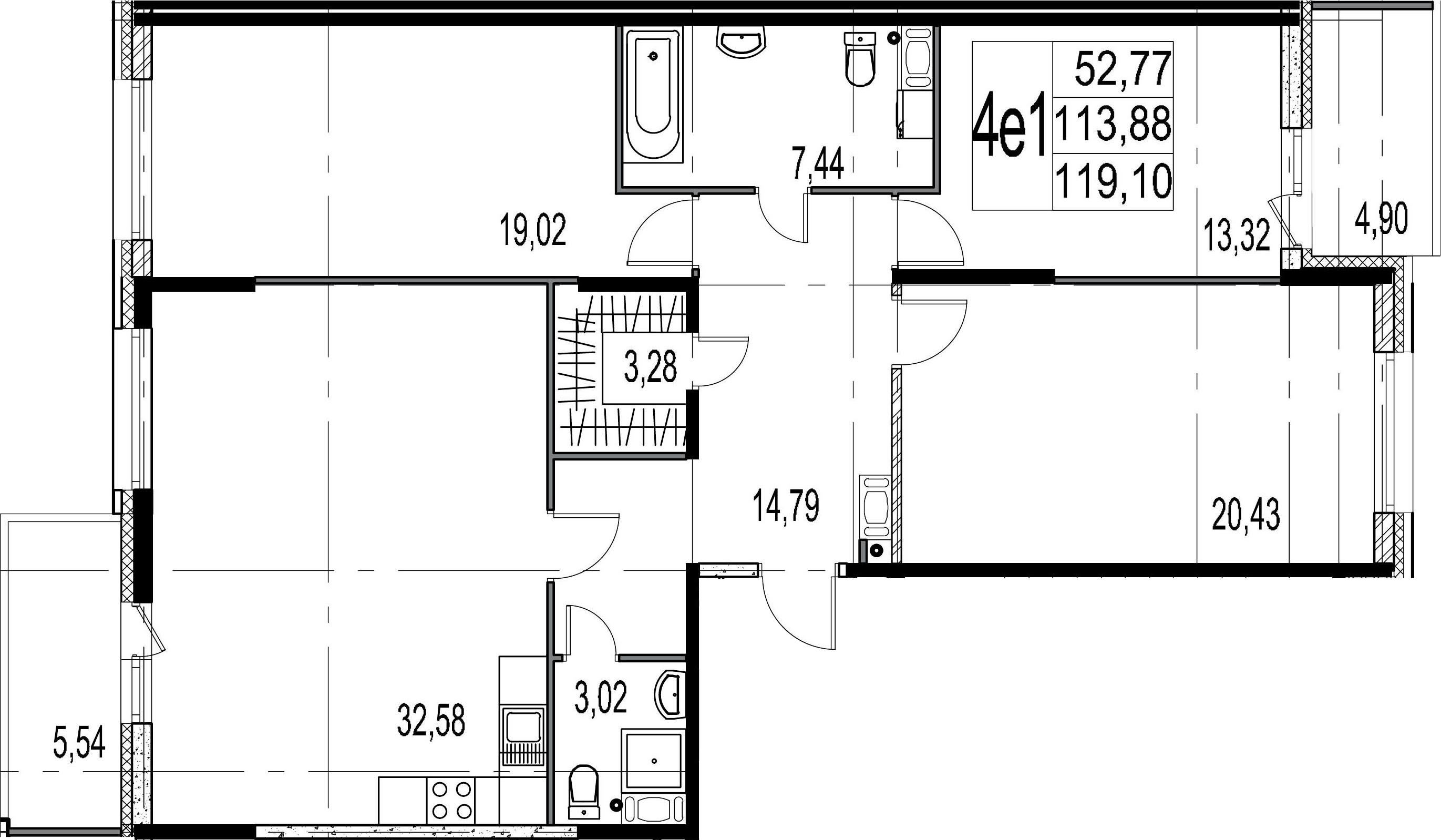 4-комнатная 124 м<sup>2</sup> на 6 этаже