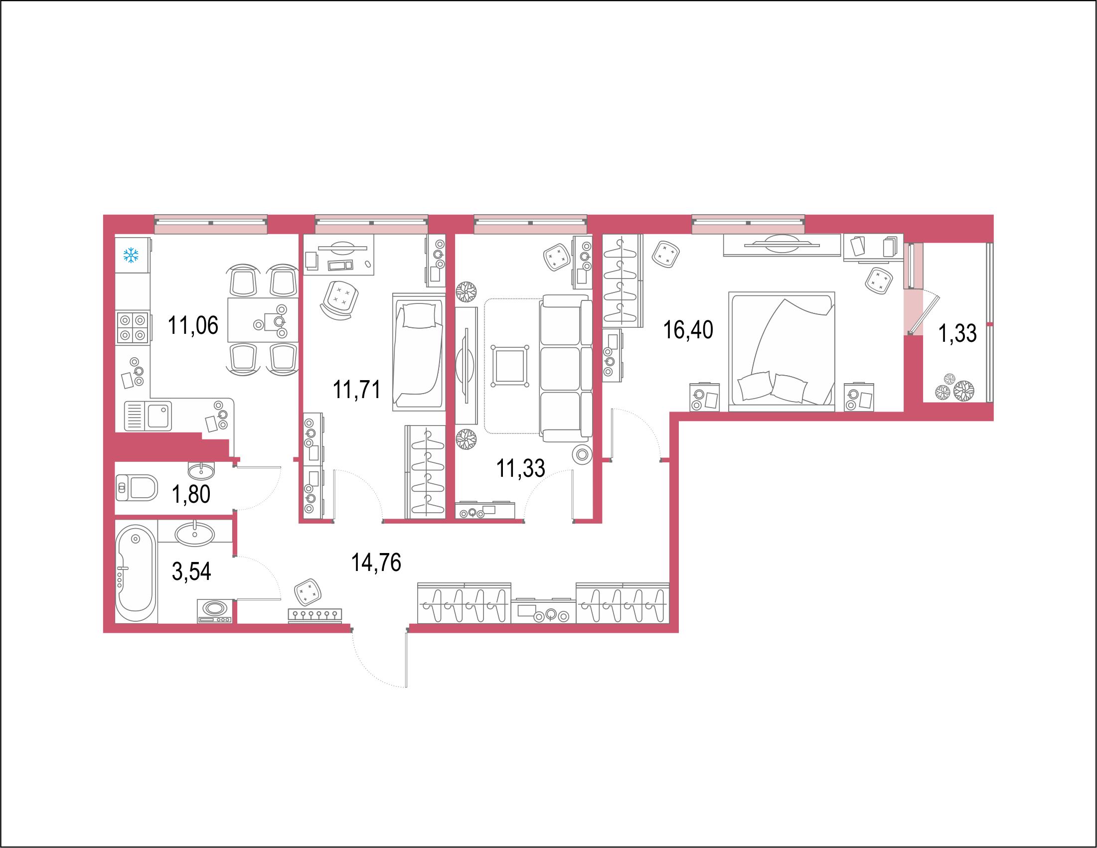3-комнатная 73 м<sup>2</sup> на 22 этаже