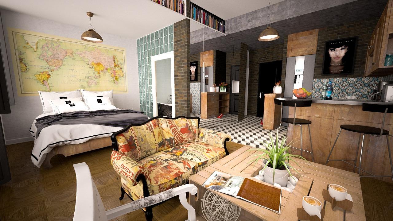 совмещение спальни с гостиной