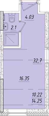 Студия 16 м<sup>2</sup> на 3 этаже