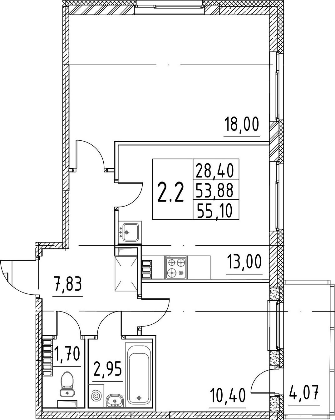 2-комнатная 57 м<sup>2</sup> на 4 этаже