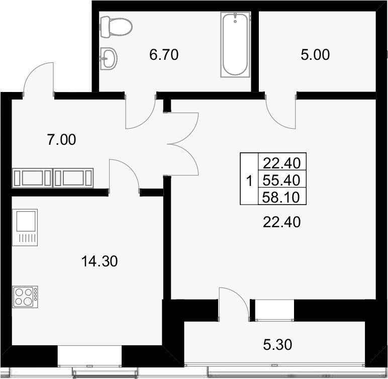 1-к.кв, 60.8 м²