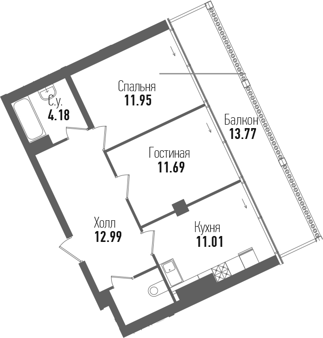 2-комнатная 68 м<sup>2</sup> на 7 этаже
