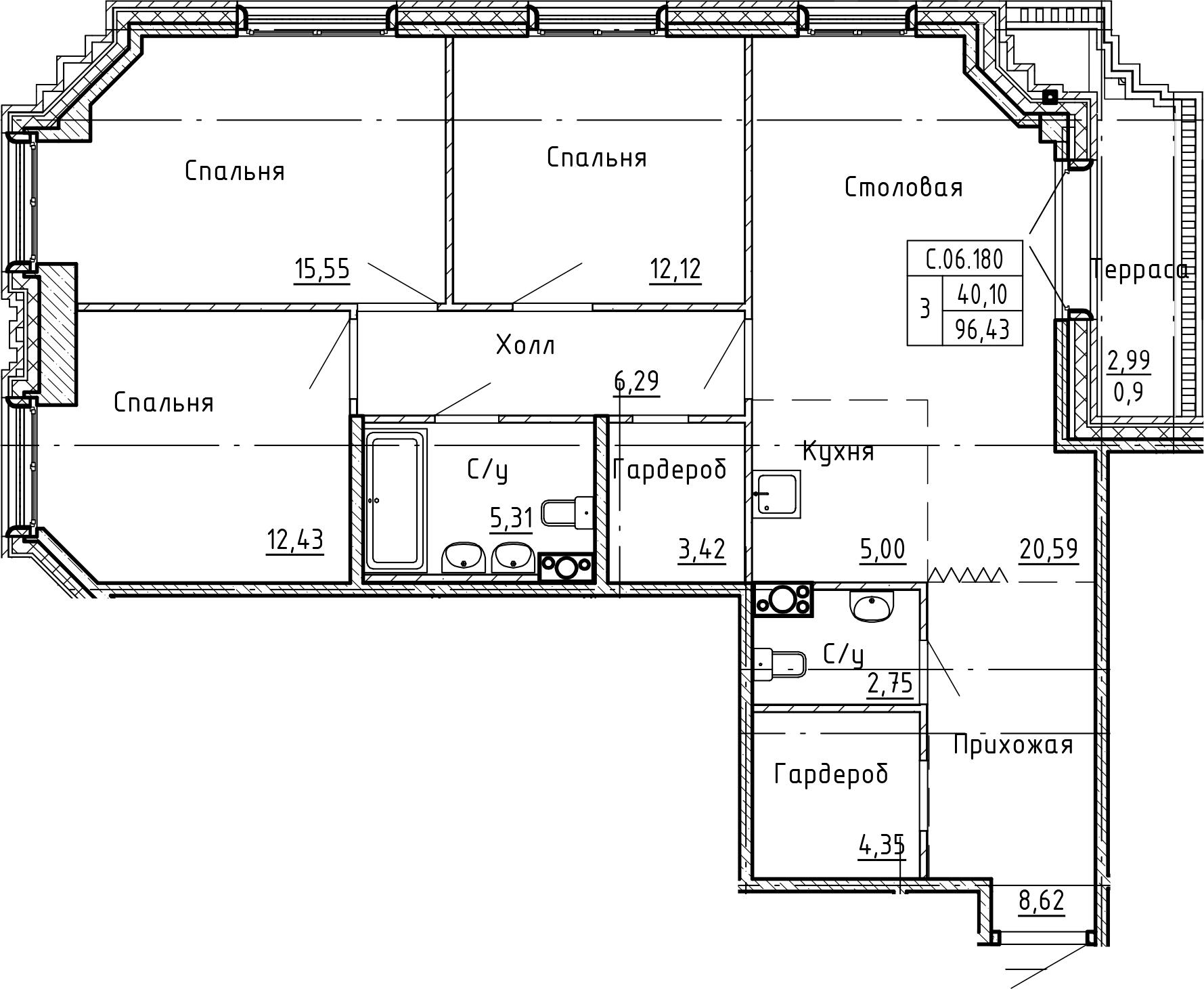 4-комнатная 99 м<sup>2</sup> на 6 этаже