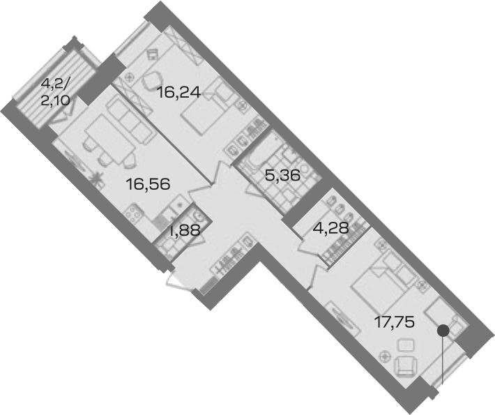 2-комнатная 78 м<sup>2</sup> на 5 этаже