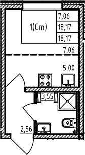 Студия 18 м<sup>2</sup> на 1 этаже