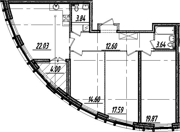 4-комнатная 98 м<sup>2</sup> на 3 этаже