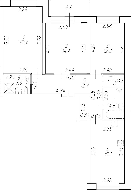 4-комнатная 87 м<sup>2</sup> на 1 этаже