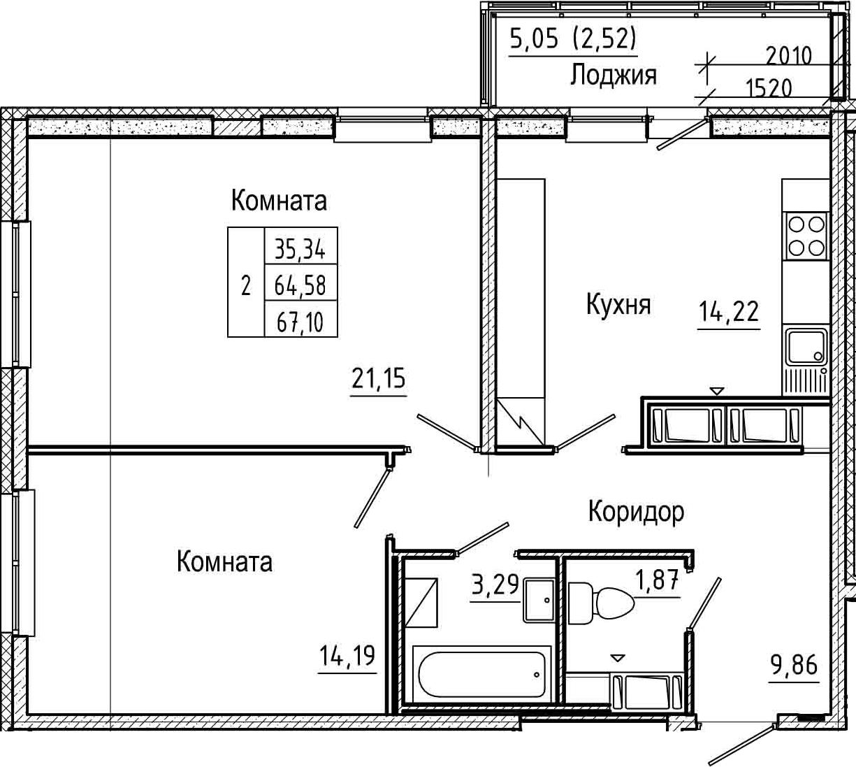 2-комнатная 69 м<sup>2</sup> на 23 этаже