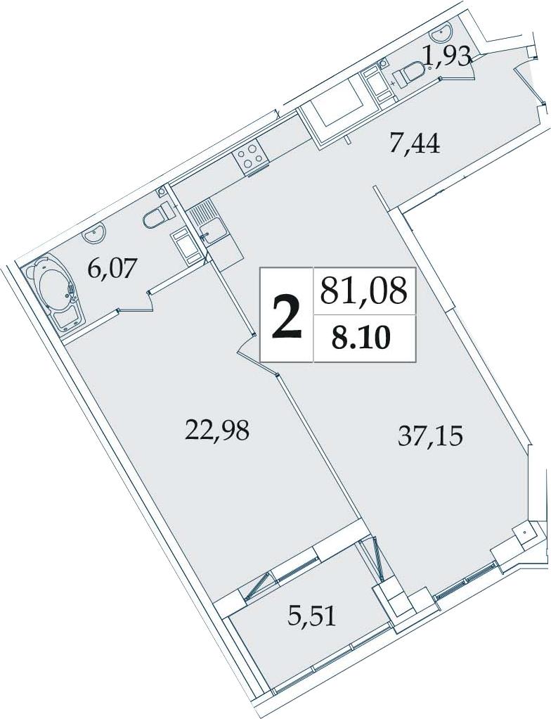 2-комнатная 81 м<sup>2</sup> на 8 этаже