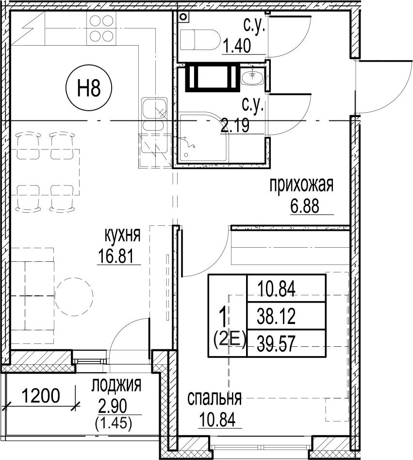 2-комнатная 41 м<sup>2</sup> на 12 этаже