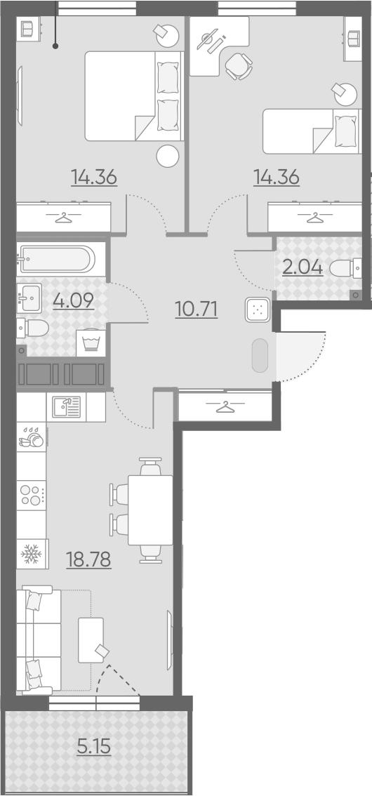 3-комнатная 69 м<sup>2</sup> на 10 этаже