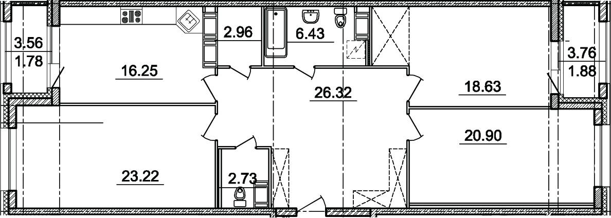 3-комнатная 124 м<sup>2</sup> на 8 этаже