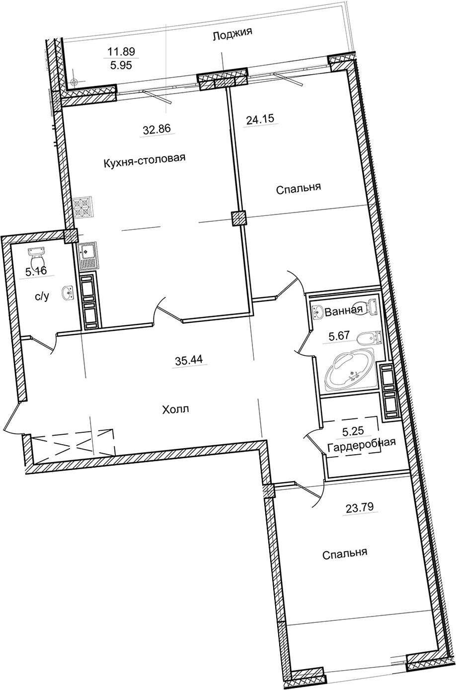 3-к.кв (евро), 145.25 м²