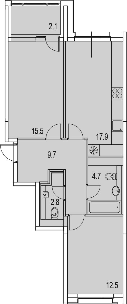 3-комнатная 67 м<sup>2</sup> на 12 этаже