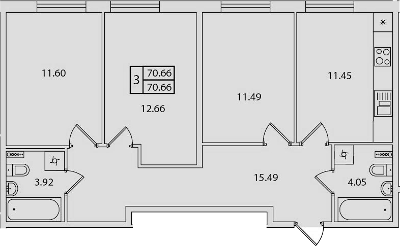 3-к.кв, 70.66 м²