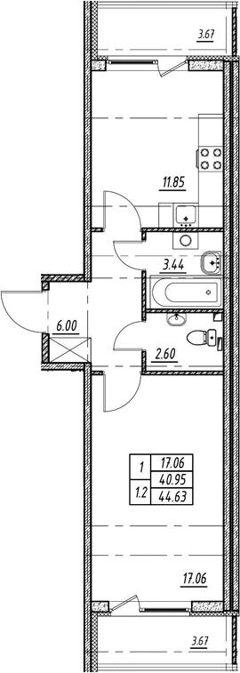 1-комнатная 48 м<sup>2</sup> на 2 этаже