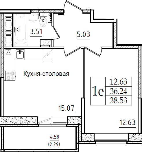 2-комнатная 40 м<sup>2</sup> на 7 этаже