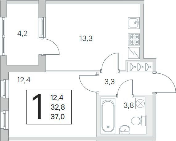2-комнатная 36 м<sup>2</sup> на 5 этаже