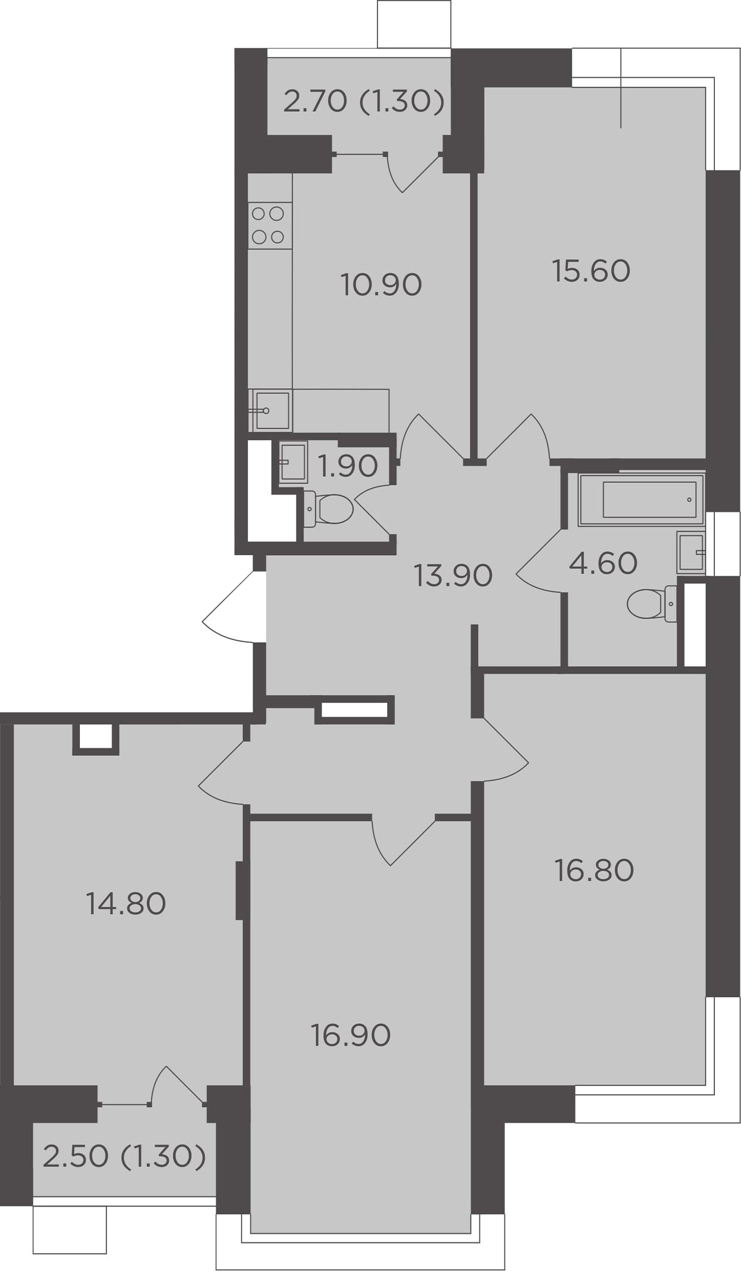 4-к.кв, 100.6 м²