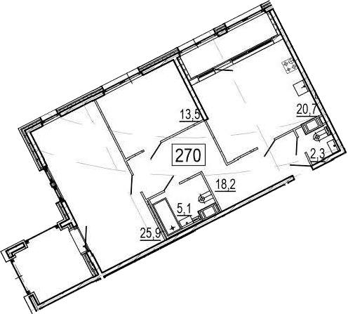 3-комнатная 99 м<sup>2</sup> на 11 этаже