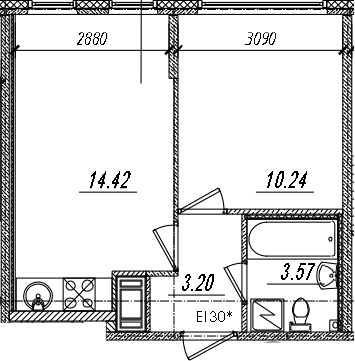 2-комнатная 31 м<sup>2</sup> на 12 этаже