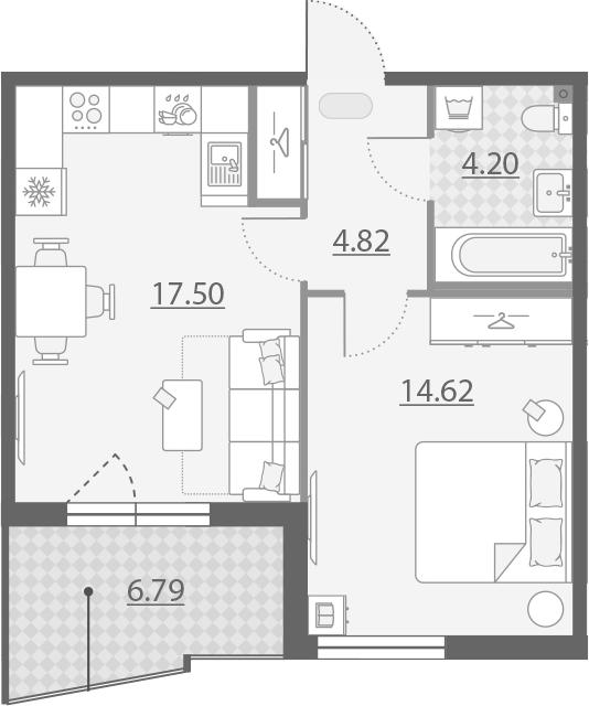 2-комнатная 47 м<sup>2</sup> на 7 этаже