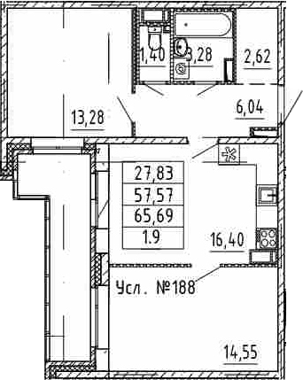 3-к.кв (евро), 65.69 м²